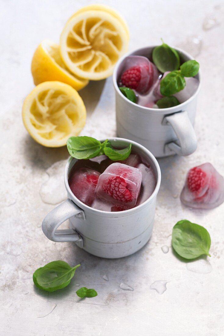 Raspberry and basil mules