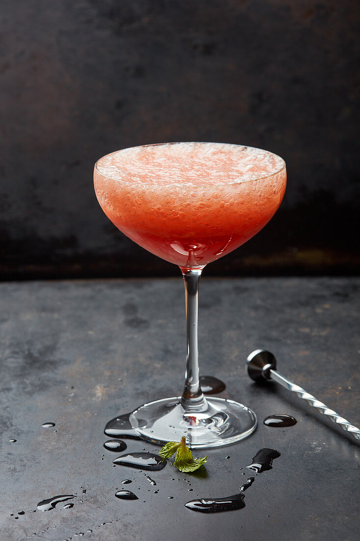 A strawberry champagne cocktail