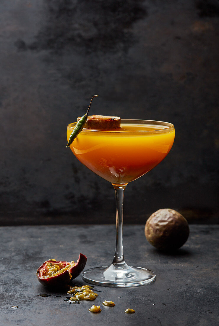 A passionfruit and chilli cocktail