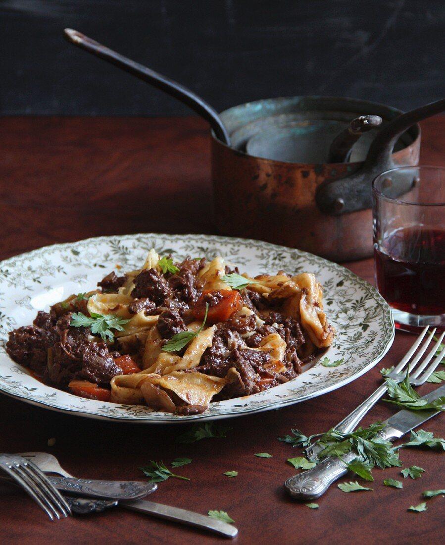 Lamb ragout with pasta