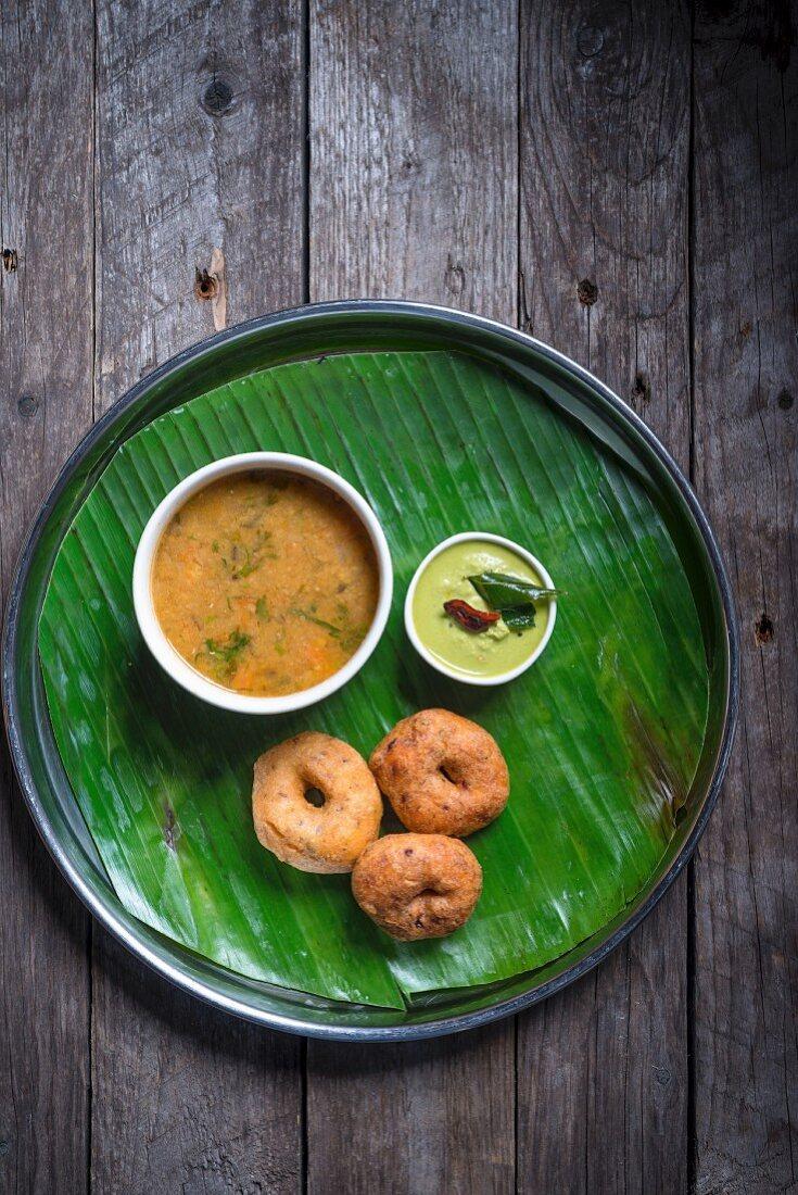 Medu Vada with Sambhar and Coconut Chutney
