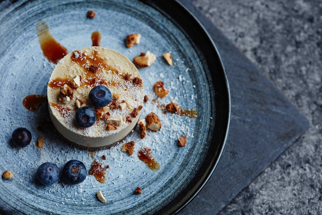 A nut torte with blueberries