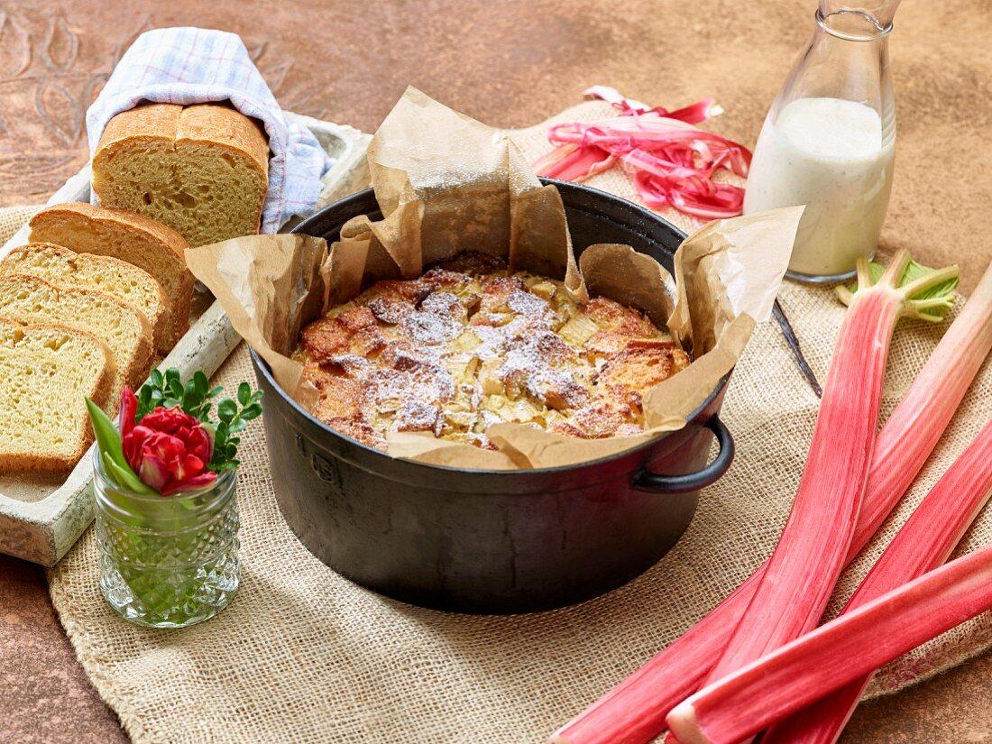 Rhubarb cake with royale sauce