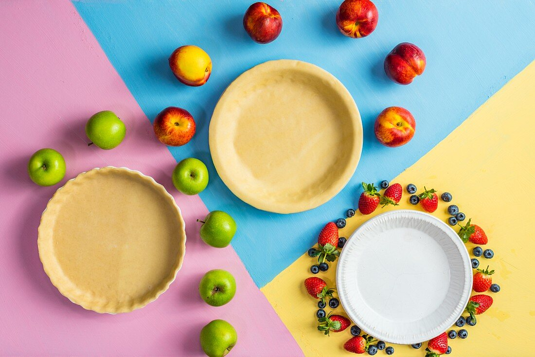 Pie cases and various fruits