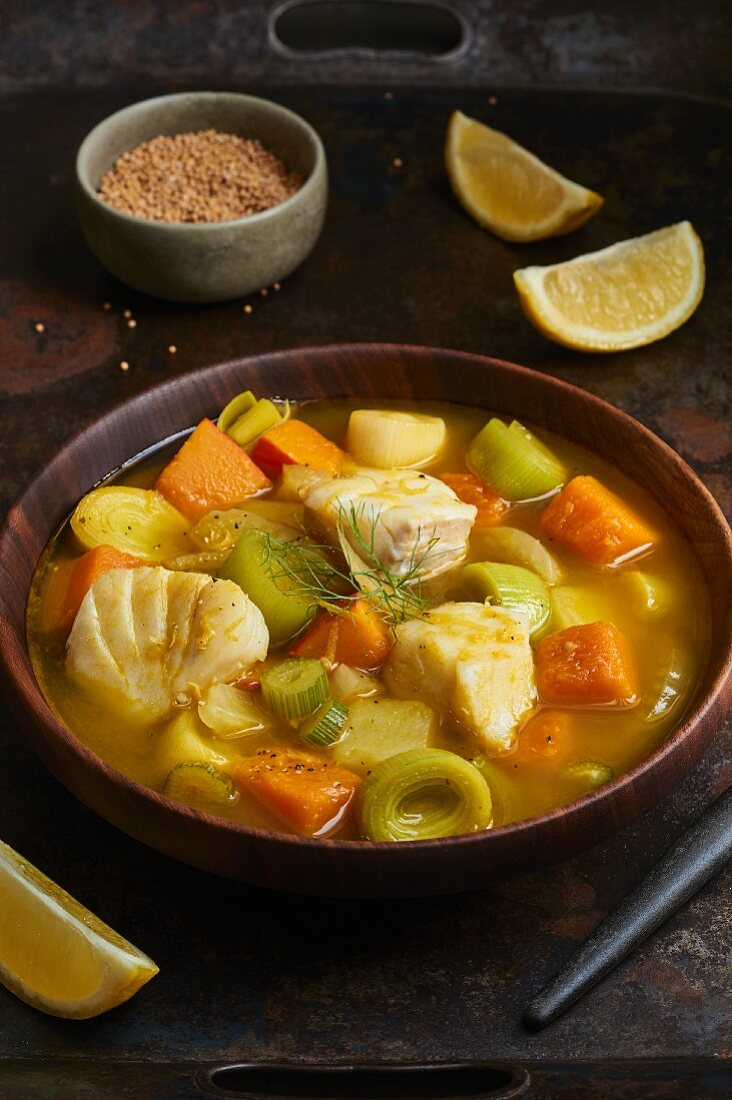 Pumpkin stew with fennel and fish
