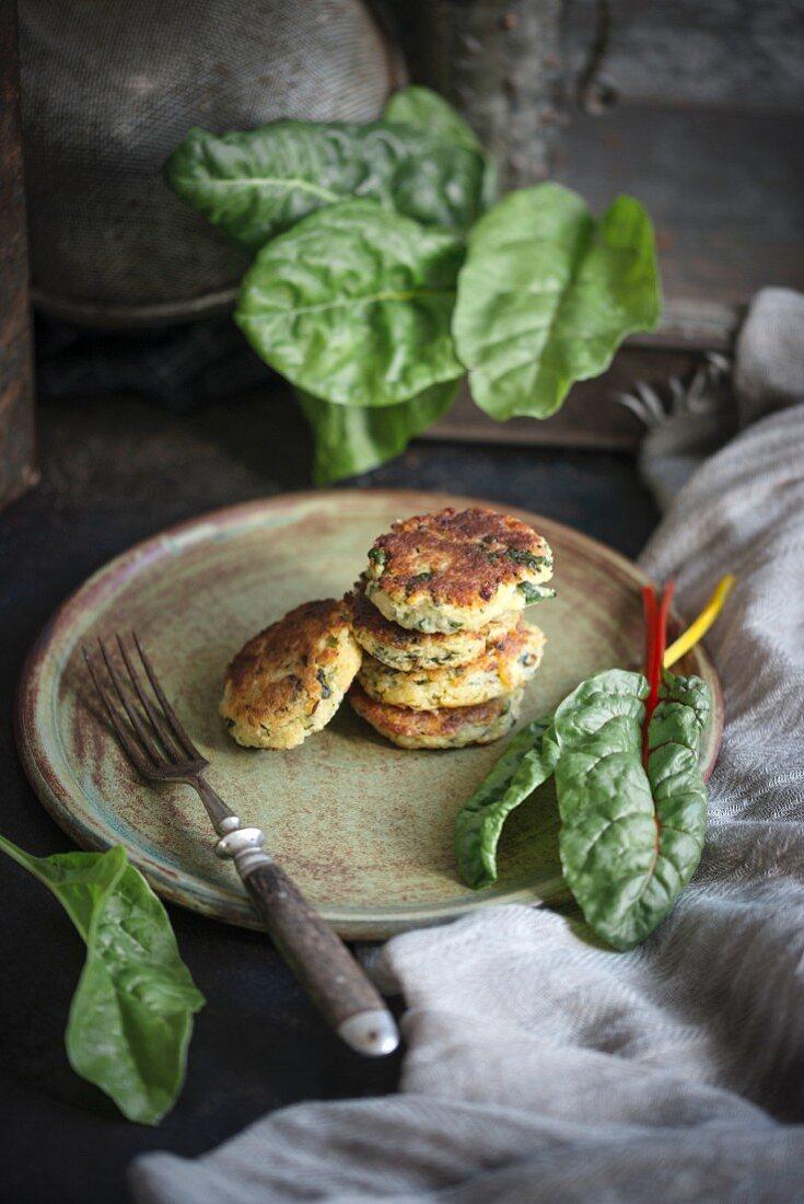 Potato and chard fritters (vegan)