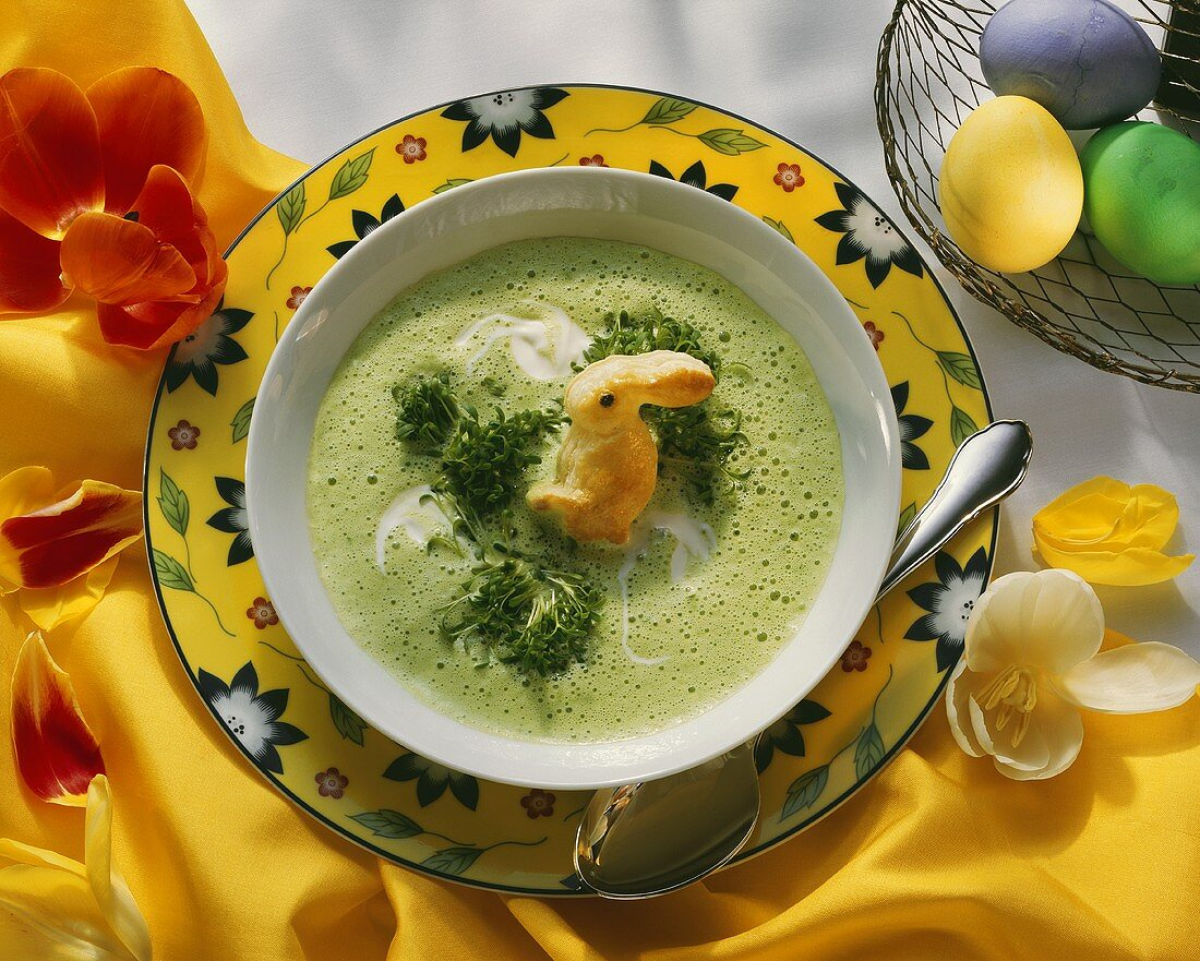 Cress Foam Soup with Pastry Bunny; Easter Eggs