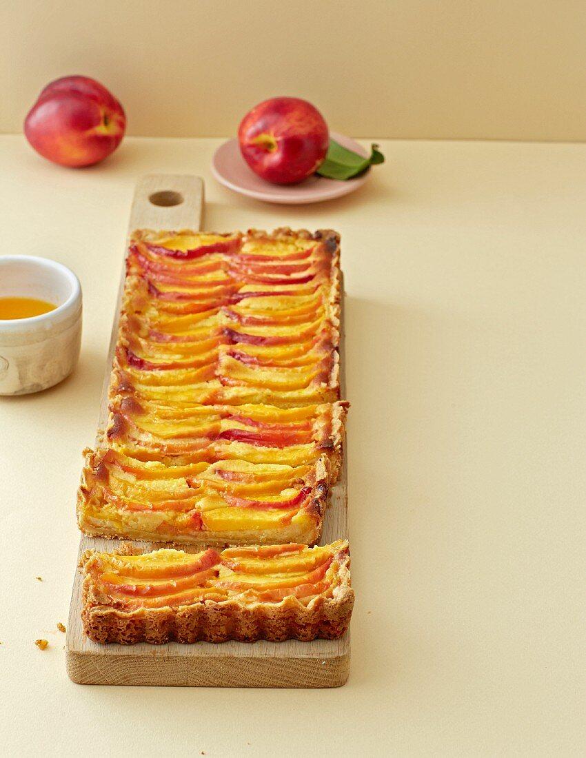A marzipan and nectarine tart