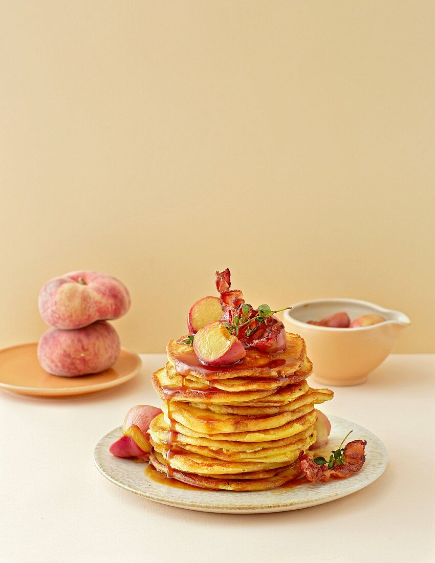 Pancakes with peach and caramel