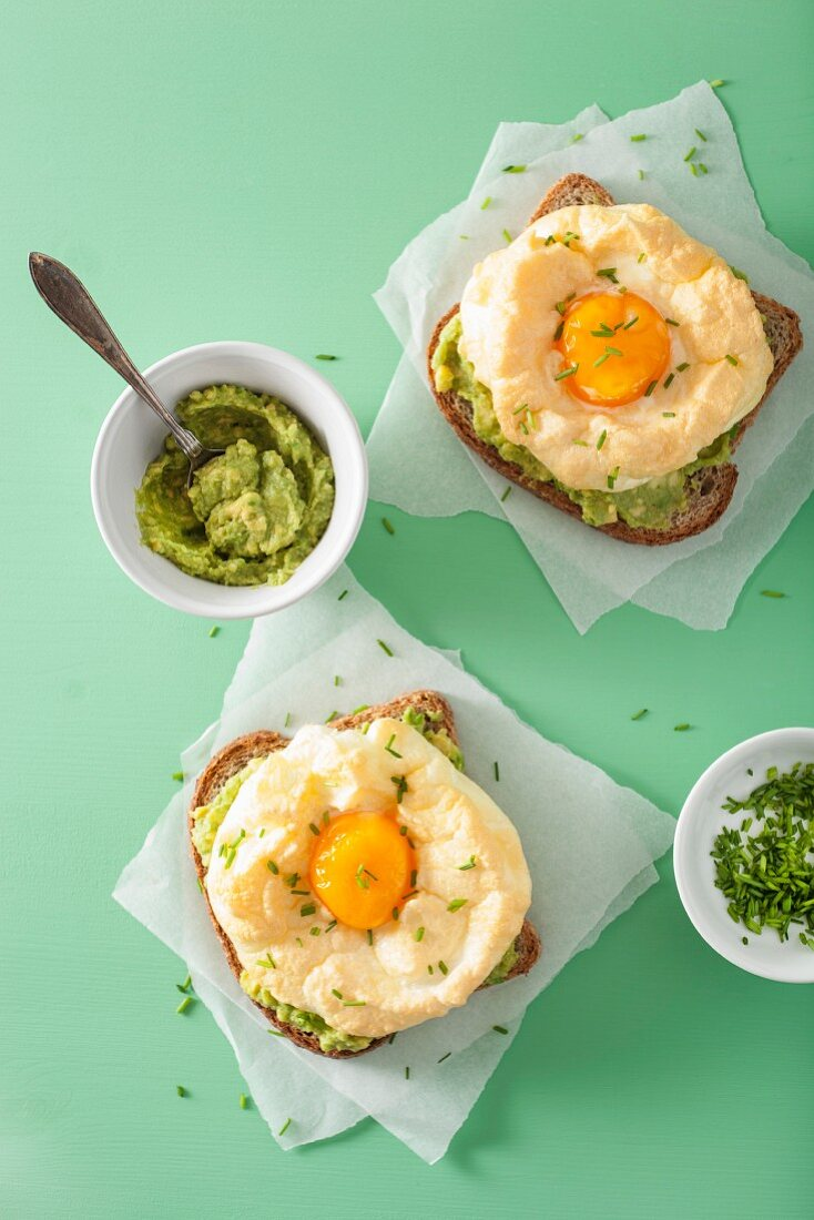 Cloud egg on a toast with avocado
