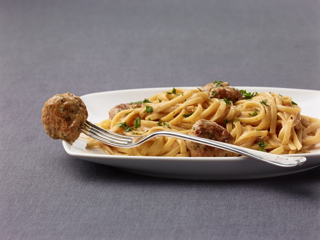 Asian style linguine with meatballs