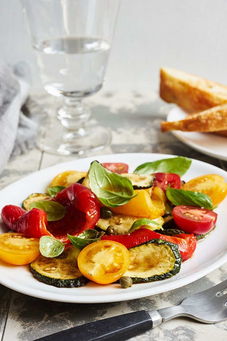 Vegetable antipasti salad with basil