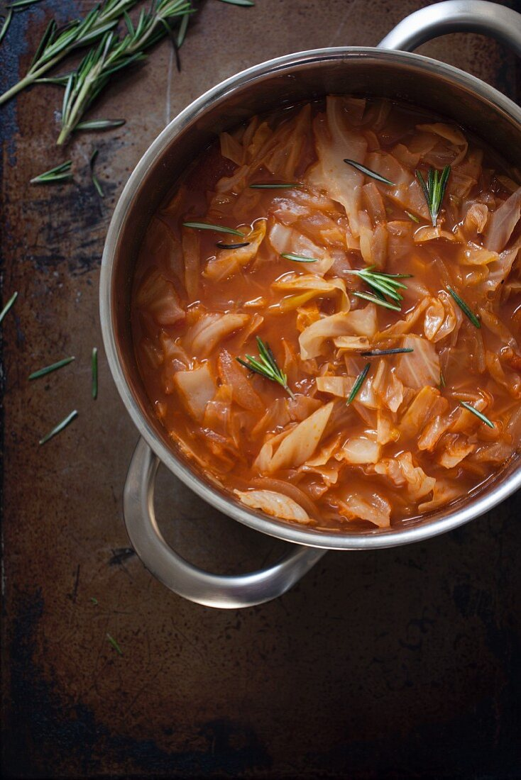 Pot of white cabbage soup