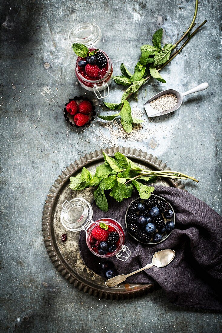 Chia pudding with mint and various berries