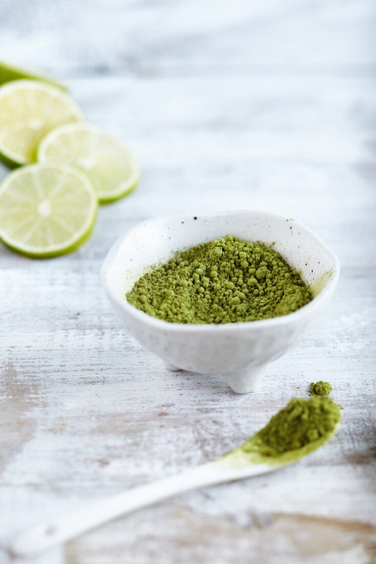 Matcha powder and limes