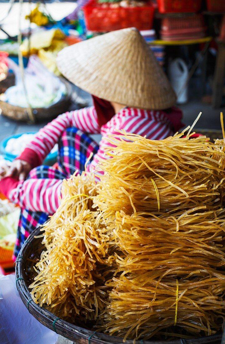 Noodles for sale at a market in Hoi An, Vietnam