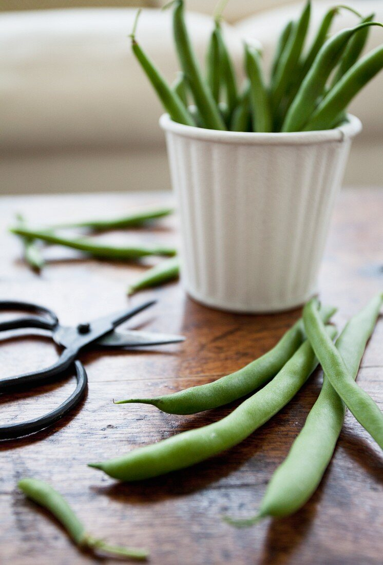 Green beans stacked in a white tin, with scissors resting beside on a rustic tabletop