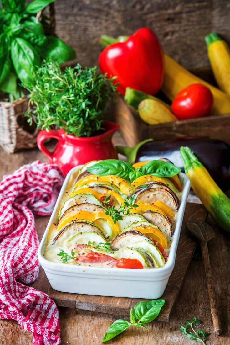 Zucchini, pepper, eggplant and tomato baked in bechamel sauce