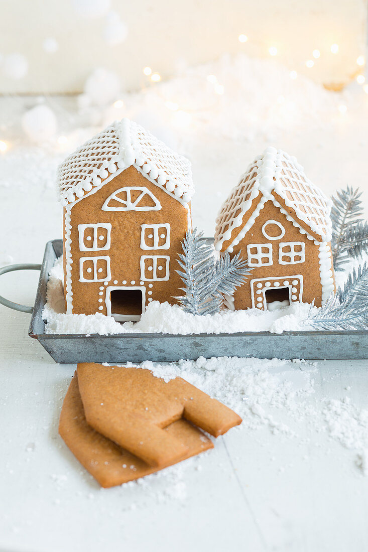 Gingerbread houses decorated with icing