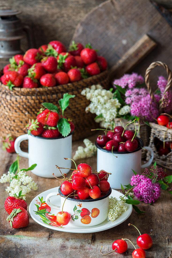 Kirschen und Erdbeeren in Emaille-Bechern