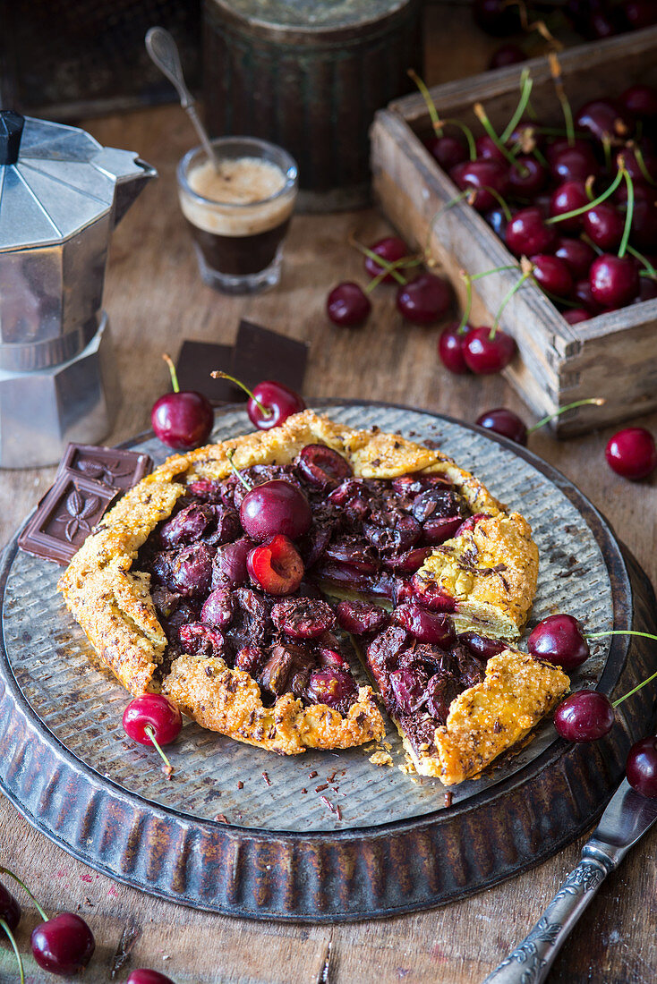 Pie with cherry and chocolate filling