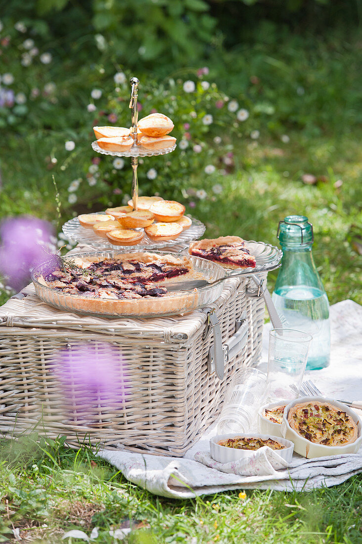 A picnic with a beetroot tart, ham and leek quiches, and mini salmon tarts