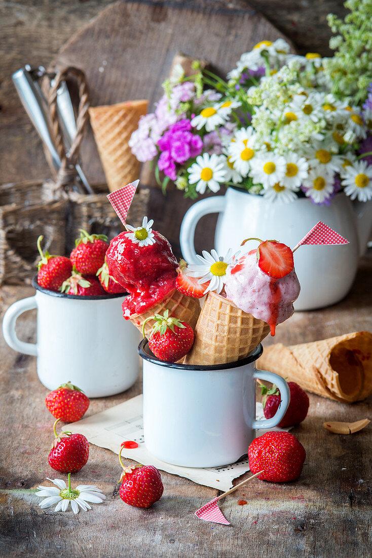 Homemade strawberry ice cream and sorbet