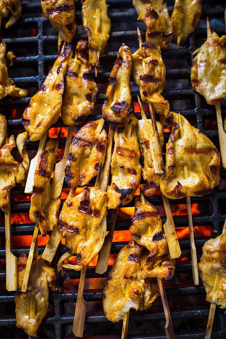 Grilled satay skewers