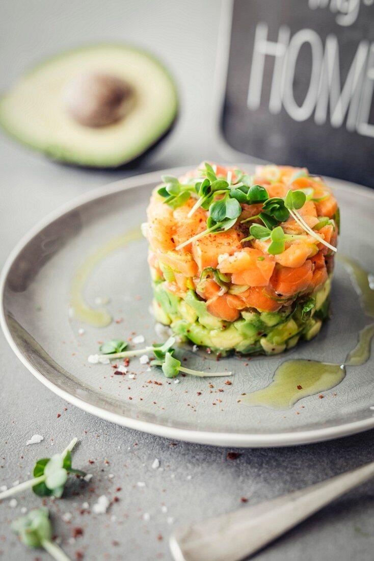Avocado and salmon tartare with cress