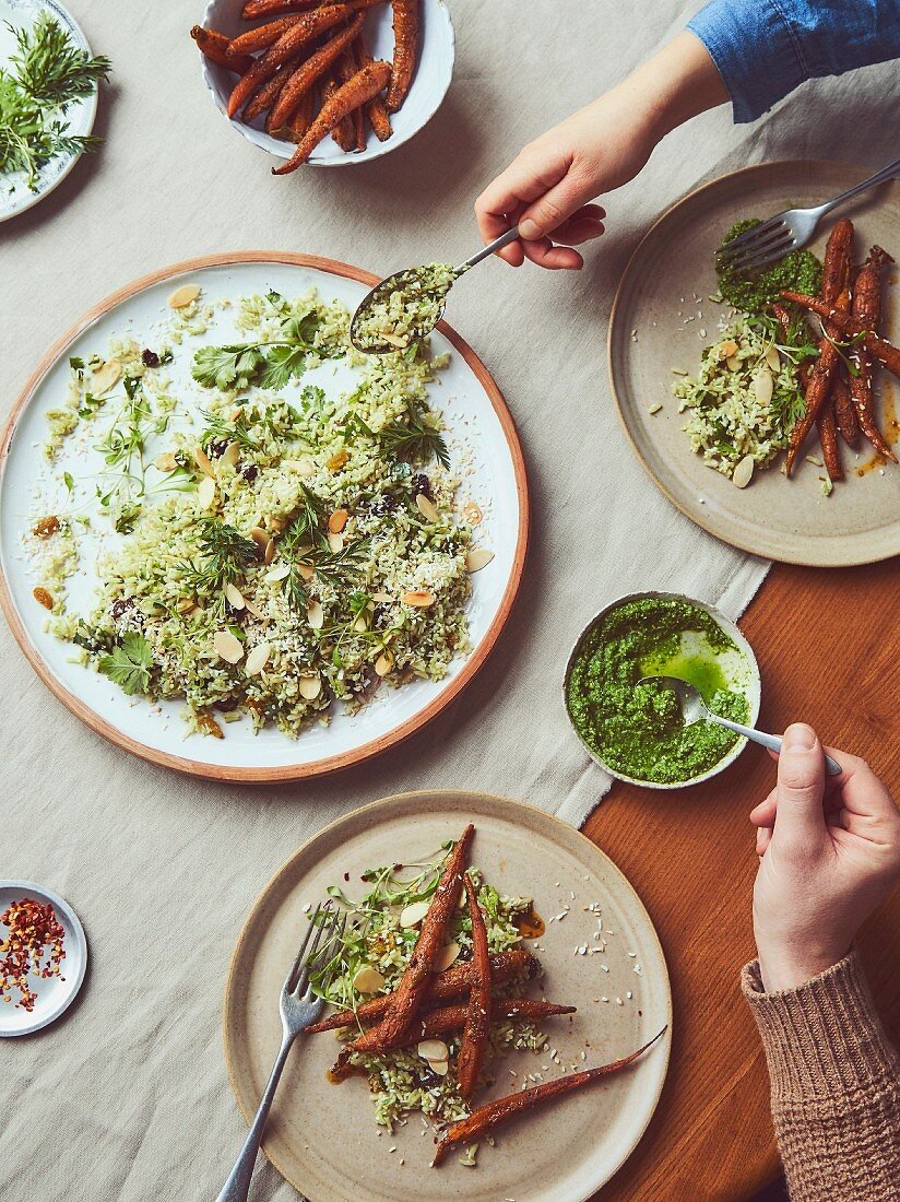 Indian Roast Carrot Salad with coriander, coconut dressing
