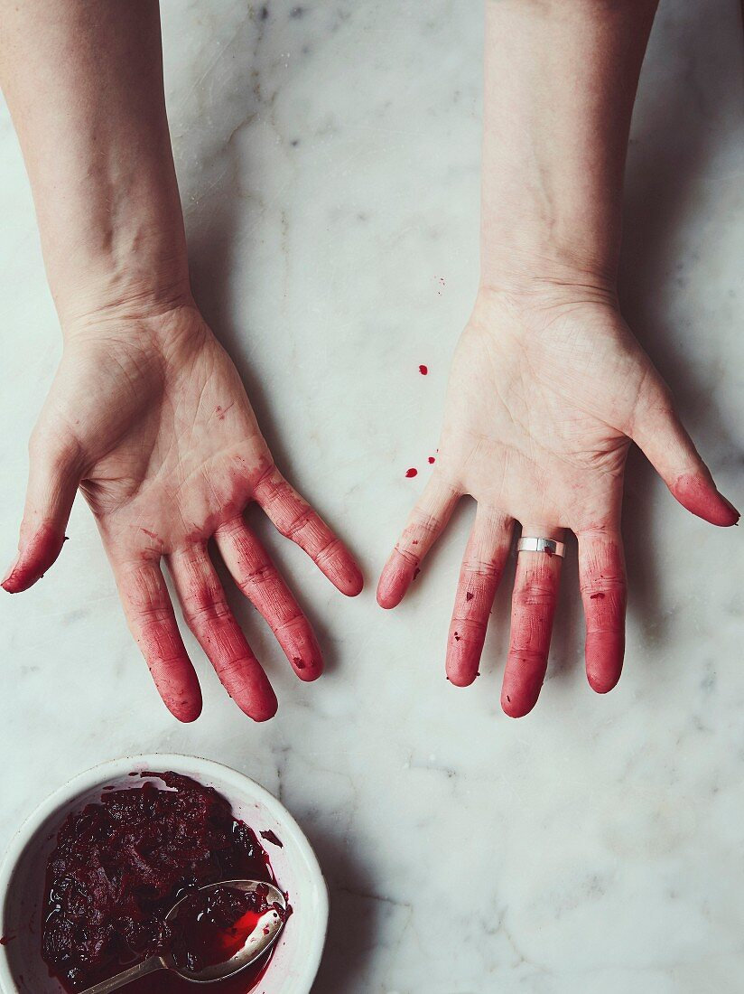 Beetroot stained hands