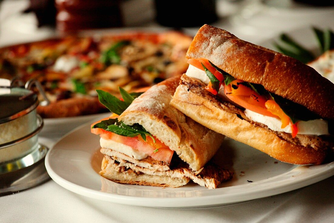 A grilled panini with chicken, tomato and mozzarella