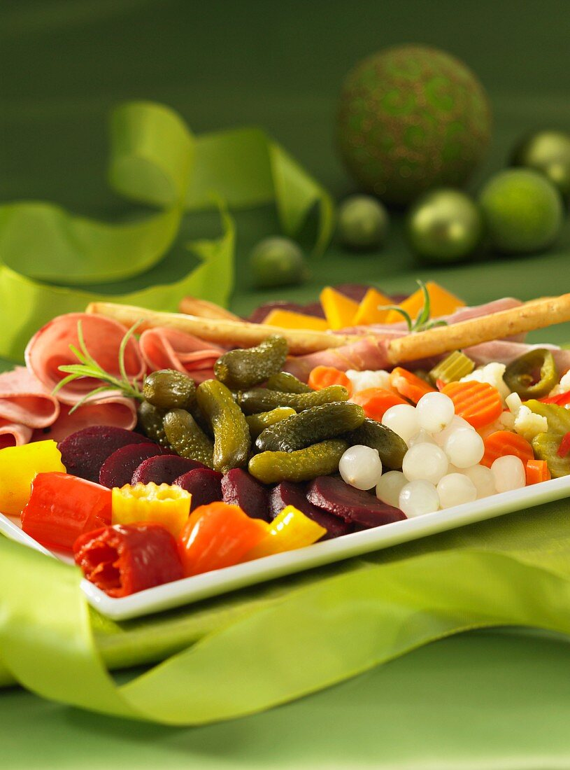 Party platter pickles meats for Christmas