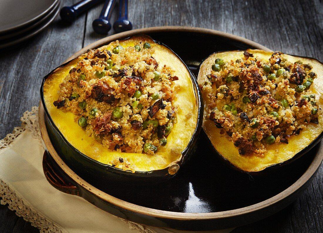 Vegan Quinoa Stuffed Acorn Squash with Peas