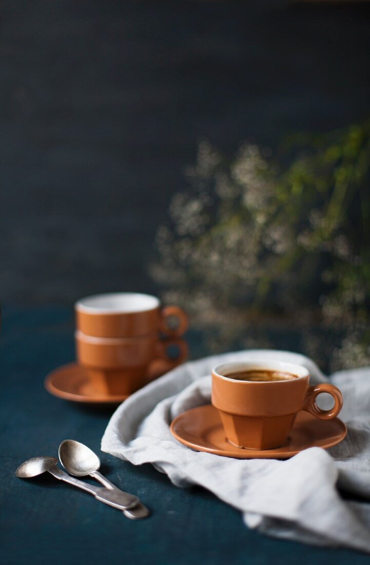 A cup of espresso on a cloth