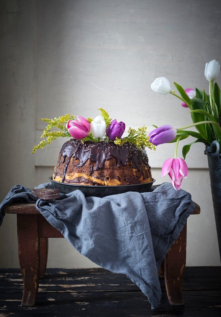 Vegan marble cake decorated with tulips