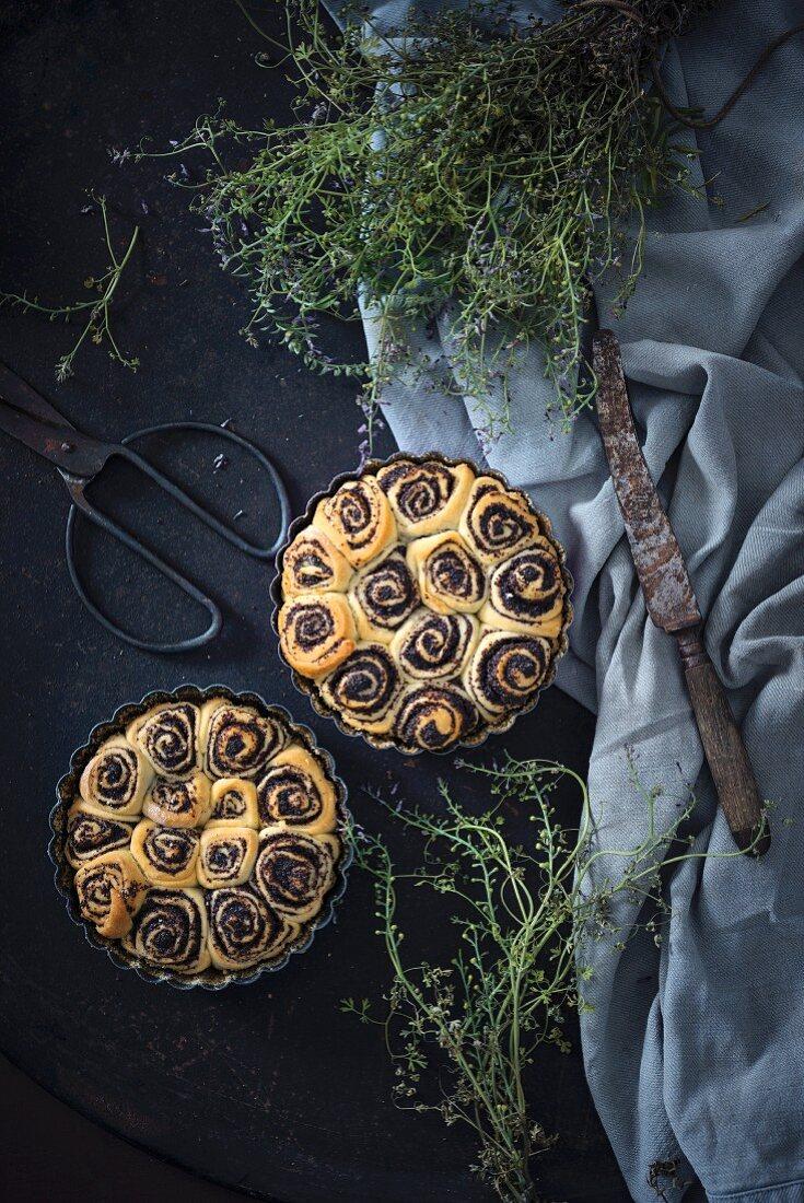 Vegan poppy seed snail cake