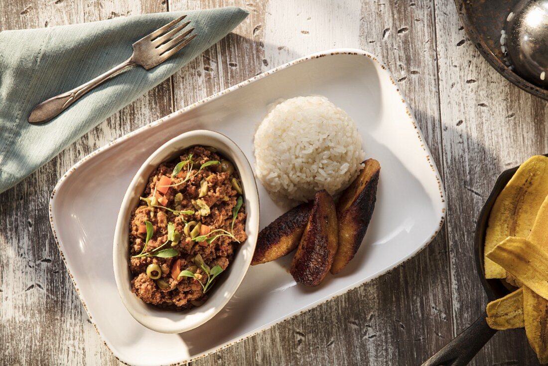Cuban-style Picadillo served with rice shot from overhead
