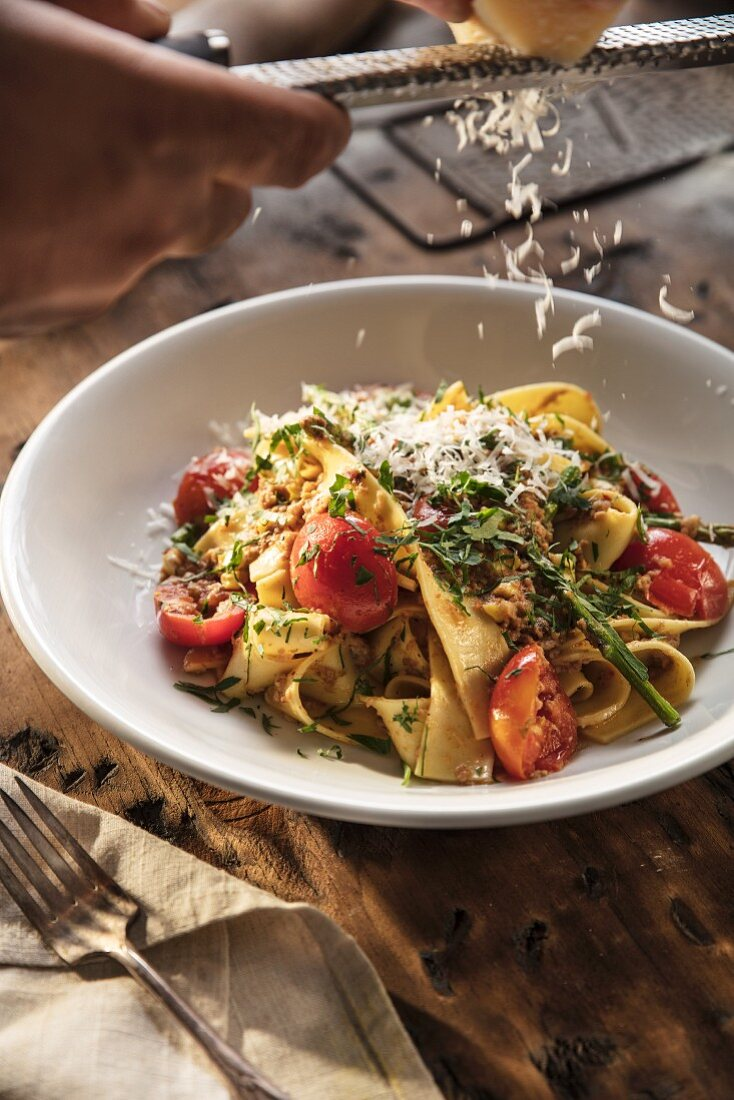 Pappardelle with Pork Sugo and Fresh Vegetables finished with grated Parmesan