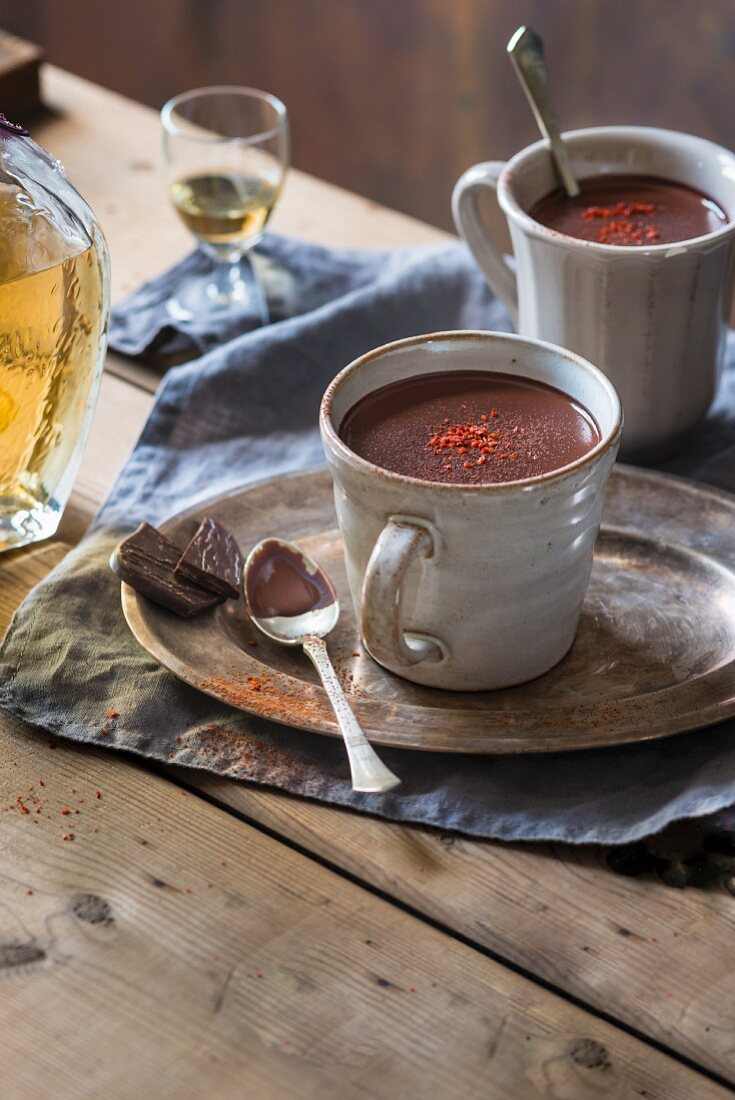 Spicy Mexican hot chocolate with tequila