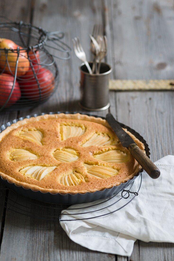 Pear tart in a baking tin