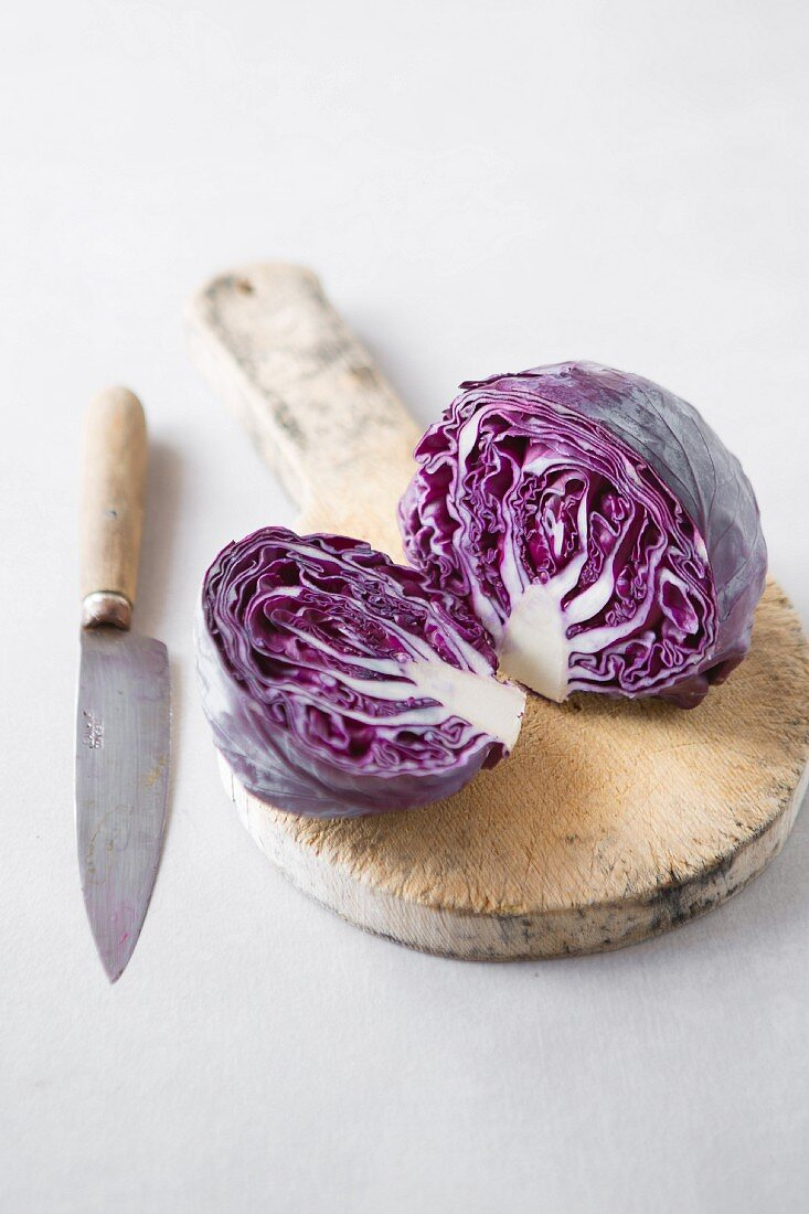 Sliced purple cabbage on a chopping board