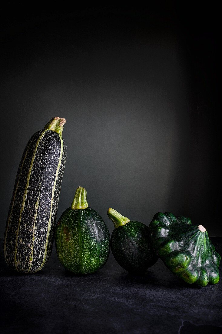 Different type of courgettes lined up