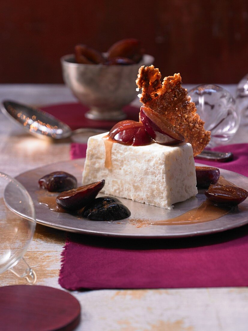Rice pudding mousse with rum-poached plums (Christmas)