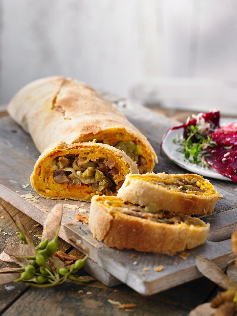 Pumpkin and leek strudel with beetroot ragout (Switzerland)
