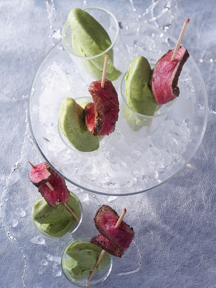 Apple sorbet with dry aged roast beef