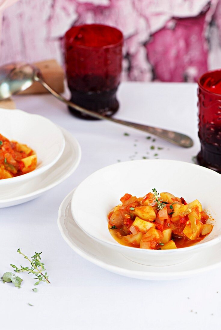 Pisto, a traditional Spanish dish made of tomatoes, onions, eggplant or courgettes, green and red peppers and olive oil