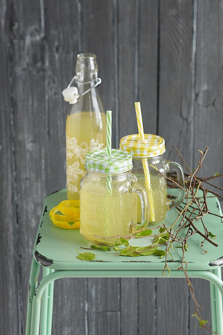 Homemade fizzy birch drink