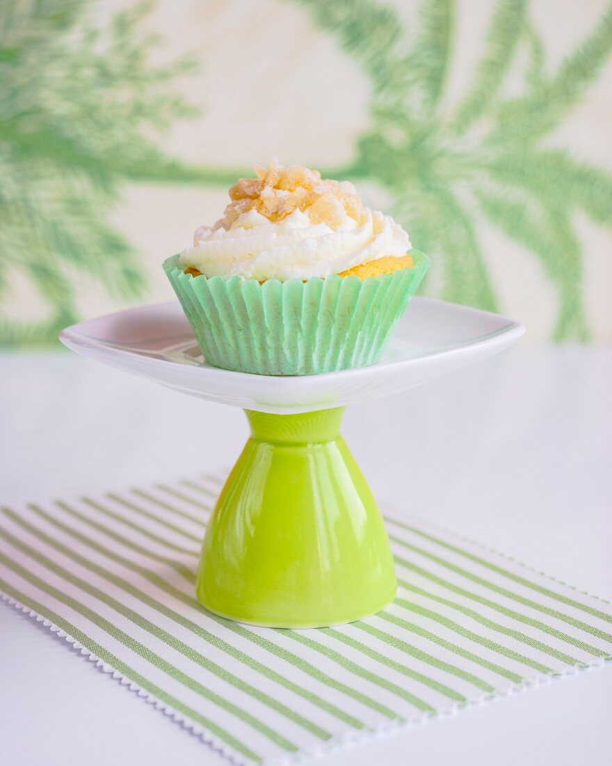 A cupcake topped with brittle