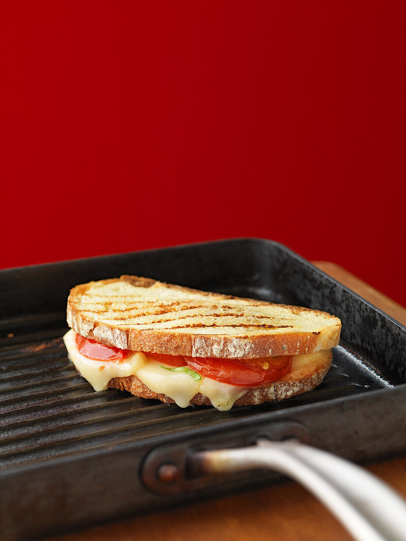A toasted sandwich with tomatoes and cheese in a grill pan
